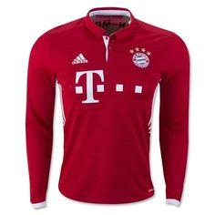 80e019bb adidas Men's FC Bayern Munich 16/17 Long Sleeve Home Jersey Fcb True/White