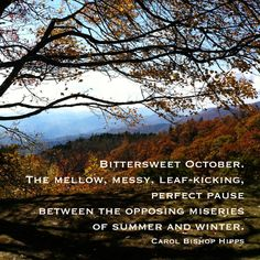 Elegant Bittersweet October Quote | Fall Quote | Autumn Leaves | Blue Ridge  Mountains | Photo And