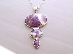 Amethyst Necklace Purple Statement Necklace Large by mwhitejewelry