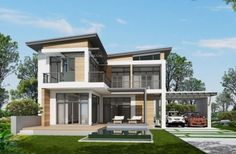 Home design plan with 4 bedrooms. Two-story house Modern Contemporary style Lay out the building layout So that every room can ventilate well. Building Layout, 4 Bedroom House Plans, Pantry Design, Architectural Design House Plans, Story House, My Dream Home, Exterior Design, Beautiful Homes, House Design
