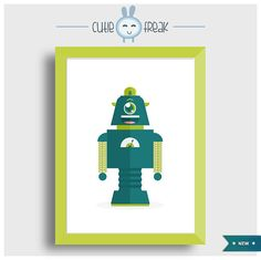 Smiley robot by Cutiefreak on Etsy, €13.00