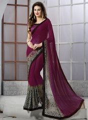 Magenta Color Georgette Party Wear Sarees : Nandini Collection YF-36866
