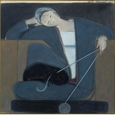 Will Barnet Study for Woman Cat and Yarn