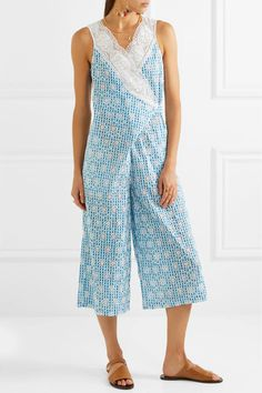 Rafaella Lace-trimmed Broderie Anglaise Gingham Cotton Jumpsuit - Light blue Miguelina Wholesale Price Sale Online Sale Sneakernews Very Cheap Sale Online De0d1kFtE