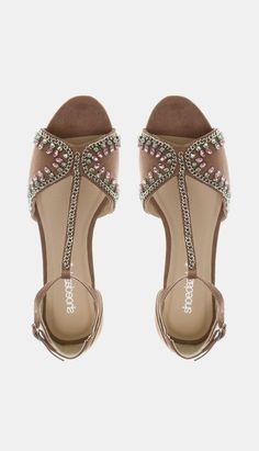 sandalias de pulsera con abalorios plateados
