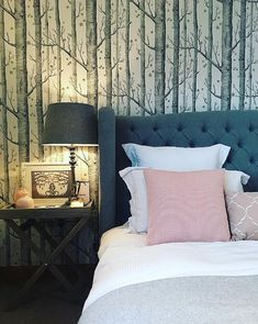 For a dreamy bedroom interior, take inspiration from @thecowbarn. Featuring a statement winged design and a button backed headboard, our Wiltshire Bed Frame has become the centrepiece in Lea's bedroom. The grey upholstered finish works perfectly with her whimsical tree-print wallpaper.