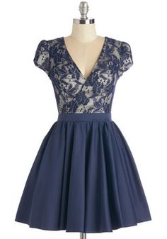 Elegance Awaits Dress. Bold, yet elegant - thats how you feel when you sport this navy dress! #blue #prom #wedding #modcloth