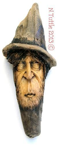 """""""A Dark Knot"""" This slightly weird wood spirit measures 7¼ inches tall and 3 inches across the brim of his hat. Signed and dated: N. Tuttle 11/23/13"""