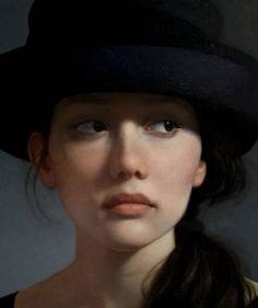 """Black Hat II"" - David Gray (b. 1970), oil on canvas {figurative realism art beautiful female head young woman face portrait cropped painting #loveart} <3 davidgrayart.com"