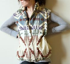 Navajo Print Flannel Puffer Vest  vintage 80s, absolutely love this!
