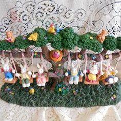 Easter jubilee bunnies swinging decoration
