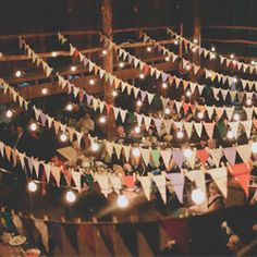 Strings of bunting . simple and effective for an outdoor DIY wedding reception or party Wedding Bunting, Camp Wedding, Wedding Blog, Diy Wedding, Rustic Wedding, Party Bunting, Wedding Shoes, Wedding Ideas, Green Wedding