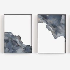 Modern Minimalist Watercolor Simple Decor Navy Blue Set of Two Trendy Wall Art Print Set or Canvas Watercolor Paint Set, Watercolor Paintings Abstract, Abstract Art, Watercolour, Canvas Designs, Canvas Ideas, Printable Wall Art, Wall Art Prints, Navy Blue