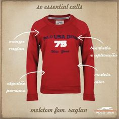 Moletom Feminino Raglan Polo, Essentials, Graphic Sweatshirt, Sweatshirts, Sweaters, Fashion, Women's Jackets, Moda, Polos