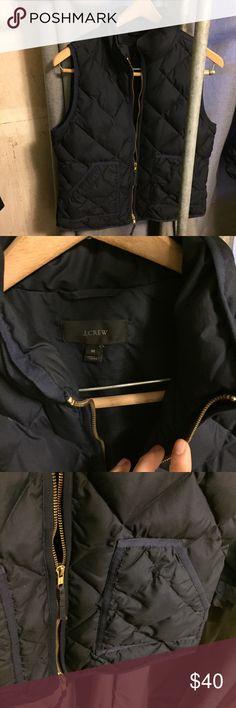J. Crew M navy quilted down vest EUC In very good condition. Pockets. Full zip. J. Crew Jackets & Coats Vests