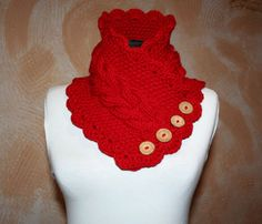 Knitted scarf collar. Red scarf. Warm scarf от BoundlessFantasy