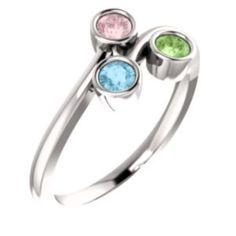 71910 / Unset / 14K White / 3-stone / Polished / Family Ring Mounting
