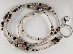 Beaded Lanyard LEOPARD SWIRL glass bead id badge holder