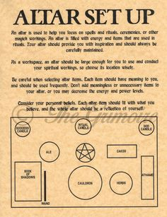 Altar Set Up Diagram & Tips, Book of Shadows Spell Page, Witchcraft, Wicca Altar More