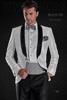 White Shantung silk blend wedding Tuxedo Jacket with Black pants
