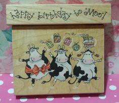 MOO BIRTHDAY & HAPPY BIRTHDAY Margaret Sherry Penny Black Rubber Stamp Lot #1568 in Crafts, Stamping & Embossing, Stamps   eBay