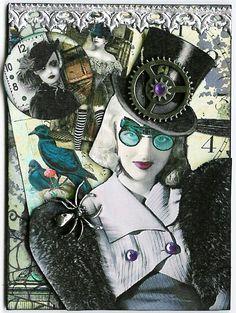 A Nostalgic Halloween-steampunk witch collage art