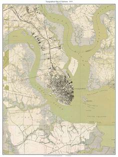 Charleston SC 1919 Topo Map - USGS  Custom Composite Reprint South Carolina