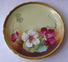 POUYAT LIMOGES FRANCE HAND PAINTED PANSIES PLATE-SIGNED