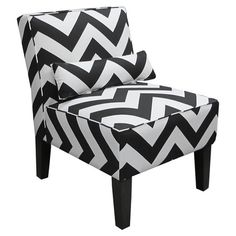 Bring a pop of style to your living room or parlor with this black and white chevron-print accent chair, featuring a matching pillow and exposed wood legs. H...