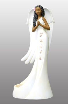 Angel in faith African American Figurines, African American Art, Angel Images, Angel Pictures, Pottery Angels, Black Figurines, Angel Theme, Handmade Angels, Ceramic Angels
