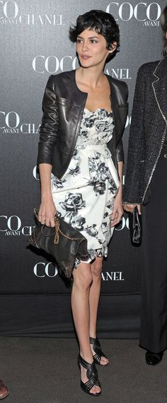 stunning contrast of feminine dress and leather jacket. make sure the dress is very fitted at the waist. (and swap sandals...)