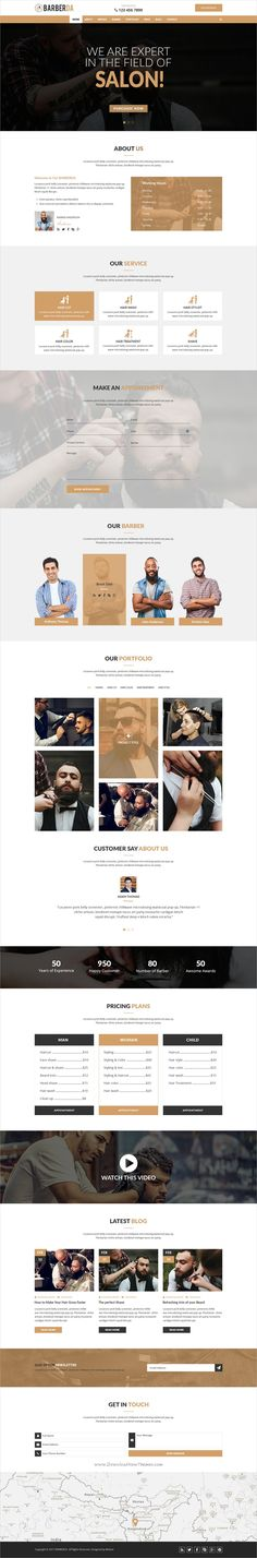 Barberdea is clean, modern and professional #PSD Template for #onepage #barbershop and #saloon website download now➩ https://themeforest.net/item/barberda-onepage-psd-template-for-barber/19465232?ref=Datasata