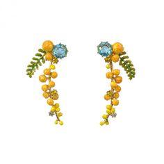 Boucles d'oreilles branche de mimosa et fougère