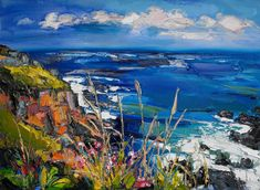 """The Lizard"" by Judith Bridgland (Undated) Seascape Paintings, Landscape Paintings, Watercolor Paintings, Acrylic Painting Techniques, Guache, Sea Art, Abstract Landscape, Contemporary Landscape, Beautiful Artwork"