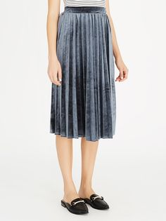 STYLE REPUBLIC Pleated Velvet Skirt Grey | spree.co.za