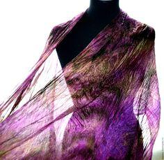 Купить шарф женский шелковый фиолетово коричневый шарф длинный - шарф шелковый, шарф большой