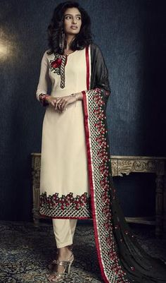 Graceful Off White Embroidered Designer Straight Cut Suit