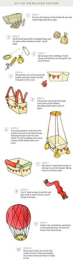 Hot Air Balloon Costume DIY  Read more - http://www.stylemepretty.com/living/2013/10/15/hot-air-balloon-costume-diy/