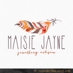 Bohemian Feather Logo Design , Tribal Logo , Boho Logo , Autumn Colors…