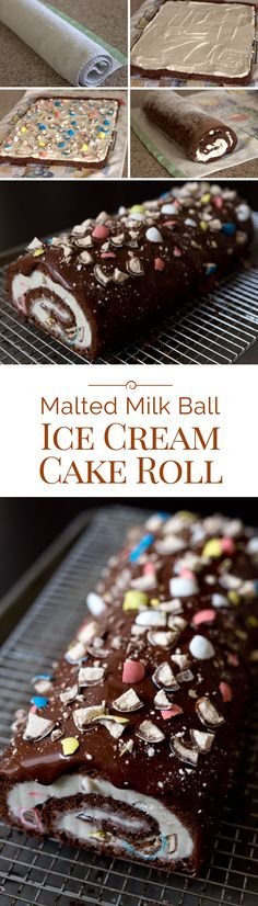 This fun Malted Milk Ball Ice Cream Cake Roll is easy to make and easy to serve. Perfect for your next party or holiday get together.