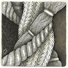 How to use a Rope for a Zentangle string. Image (c)2016 Margaret Bremner; enthusiasticartist.blogspot.com