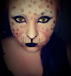 My very first go at an animal face painting (leopard).  I edited the eyes seeing as I did not have contacts on hand. #facepaint #leopard #halloween #paint #art #fx #makeup #halloweenmakeup