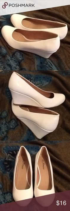 White Shoes, matte finish, 2.5 inch heel Purchased new, left shoe front slight gap. Shoes Heels