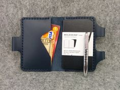 """Handmade Moleskine Cover, Moleskine Wallet ,( Volant notebook 2.5"""" x 4"""" ), Quality Real Leather, Free Monogramming and Surprise Gift"""