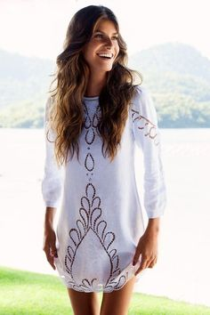 Solid White Jessey Linen Dress