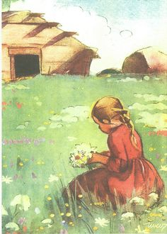 *53797 Martta Wendelin | by marja2006-offers Vintage Pictures, Art Pictures, Girl Face Drawing, Pretty Drawings, Children's Book Illustration, Book Illustrations, Christmas Art, Vintage Postcards, Lovers Art