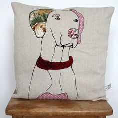 What I Always Wanted | Handmade cushion, appliqued dog design