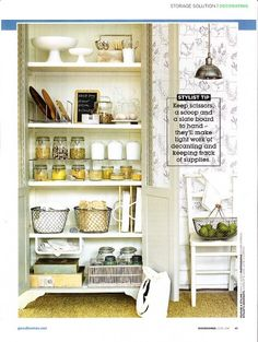 Lidded mason jars, chicken wire baskets, chalkboard, open pantry--there are so many things I love about this.