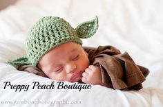Baby Yoda Hat, Crochet Baby Hat, Photography Prop, Newborn to 3 Months through 6 to 12 Months, Green Yoda Hat, Photographer Prop by preppypeach on Etsy