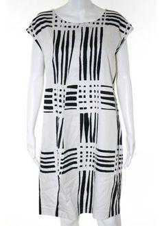 MARIMEKKO Black White Abstract Geometric Print Cotton Shirt Shift Dress Sz 36 #MARIMEKKO #ShirtDress #Casual